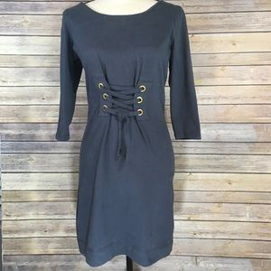 French Connection Lace-up Navy Dress